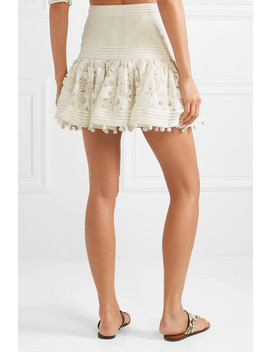 Corsage Pompom Embellished Guipure Lace And Swiss Dot Tulle Mini Skirt by Zimmermann