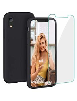 Case For I Phone Xr, Liquid Silicone Full Protective Phone Cover With Free Tempered Screen Protector Shockproof Shell For I Phone Xr Black by Pro Bien