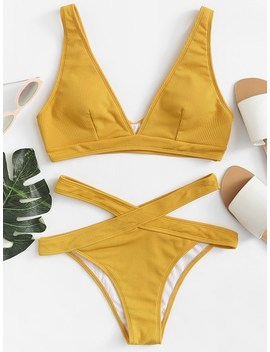 Ribbed Knit Top With Crisscross Bikini Set by Shein