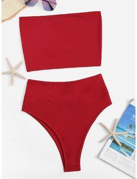 High Waist Bandeau Bikini Set by Sheinside