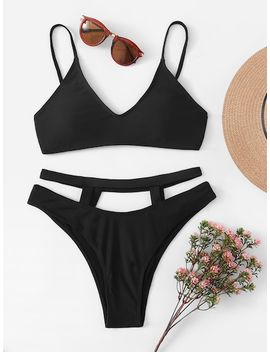 Plunge Top With Cut Out High Leg Bikini Set by Sheinside