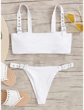 Eyelet Buckle High Leg Bikini Set by Sheinside