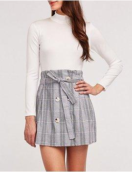 Glen Plaid Paper Bag Skirt by Charlotte Russe