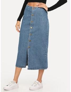 Slit Front Button Up Denim Skirt by Shein