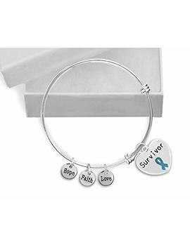 Sexual Assault Awareness Survivor Teal Ribbon Retractable Charm Bracelet In A Gift Box (1 Bracelet   Retail) by Fundraising For A Cause