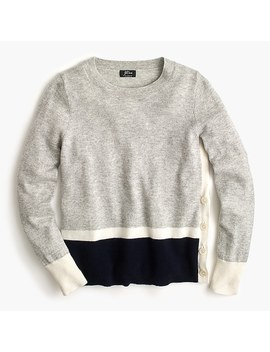 Long Sleeve Everyday Cashmere Crewneck Sweater With Side Buttons by J.Crew