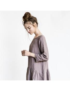 Linen Dress With Sleeves And Drop Sides / Washed And Soft Linen Dress In Caffe Mocha/Purple by Etsy