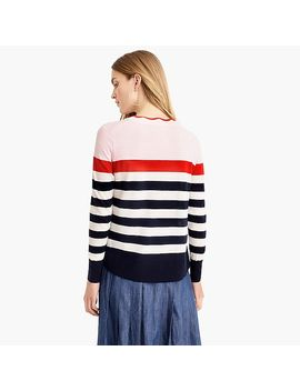 Scallop Trimmed Pullover Sweater In Colorblock Stripe by J.Crew