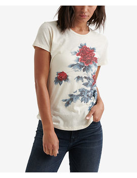 Cotton Floral Watercolor Graphic Top by Lucky Brand