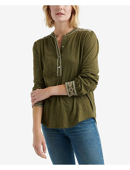 Cotton Embroidered Trim Henley Top by Lucky Brand