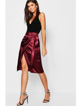 Satin Wrap Midi Skirt by Boohoo