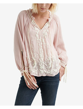 Embroidered Peasant Top by Lucky Brand