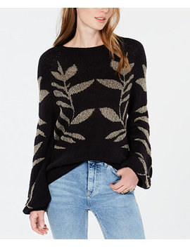 Metallic Leaf Pattern Sweater by Lucky Brand