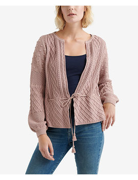 Mixed Pattern Tie Waist Cardigan by Lucky Brand