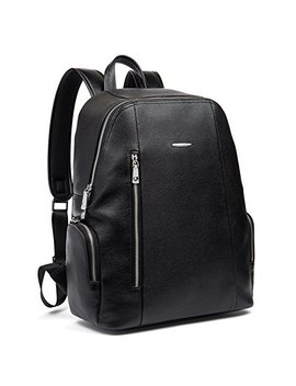 Bostanten Leather Backpack School Laptop Travel Camping Shoulder Bag Gym Sports Bags For Men Black by Bostanten