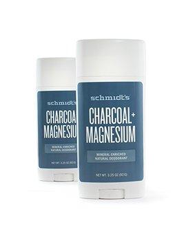 Schmidts Natural Deodorant   Charcoal + Magnesium 3.25 Oz Stick; Aluminum Free Odor Protection & Wetness Relief (2 Sticks) by Schmidt's Deodorant