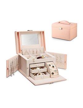 Vlando Jewelry Box, Faux Leather Medium Jewelry Organizer, Vintage Gift For Women  Pink Cross Pattern by Vlando