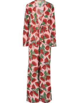 Fiore Floral Print Silk Crepe De Chine Jumpsuit by Adriana Degreas