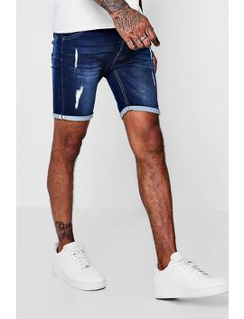 Skinny Fit Jersey Denim Shorts With Selvedge by Boohoo