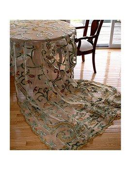 Debage Inc. Tudor Debage Appliqué Net Table Cover In Antique by Debage Inc.
