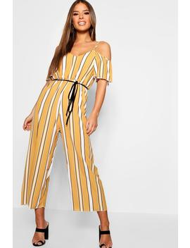 Petite Striped Cold Shoulder Jumpsuit by Boohoo