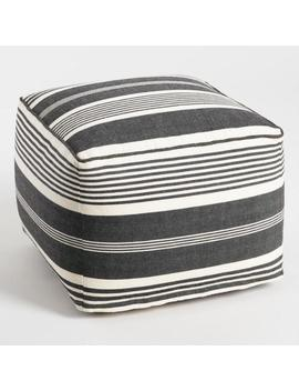 Black And White Stripe Indoor Outdoor Pouf by World Market