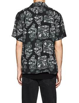 Canty Dragon Print Linen Camp Shirt by Saturdays Nyc