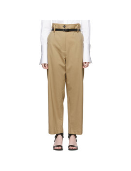 Beige Wool Paper Bag Cropped Trousers by 3.1 Phillip Lim