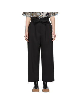 Black Paper Bag Cropped Trousers by 3.1 Phillip Lim