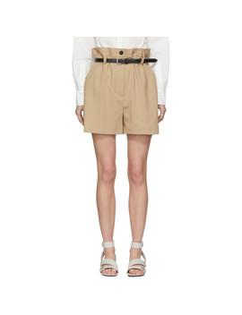 Beige Wool Paper Bag Shorts by 3.1 Phillip Lim