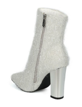 New Women Cape Robbin Beautiful 27 Tinsel Pointy Toe Metallic Block Heel Bootie by Alrisco