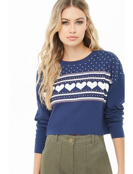 Heart Print Waffle Knit Top by Forever 21