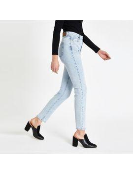 Light Blue Skinny Fit Rigid Denim Jeans by River Island