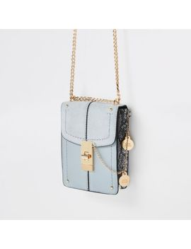 Light Blue Lock Front Mini Cross Body Bag by River Island