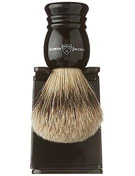 Edwin Jagger 1ej256sds Traditional English Super Badger Hair Shaving Brush Faux Ebony Medium With Drip Stand, Black, Medium by Edwin Jagger