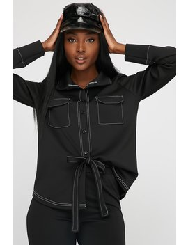 Button Up Stitched Scuba Blouse by Urban Planet