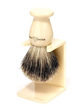 Edwin Jagger Best Badger Shaving Brush With Drip Stand, Imitation Ebony, Medium by Edwin Jagger