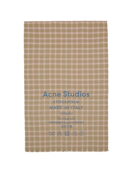 Beige & Pink Check Cassiar Scarf by Acne Studios