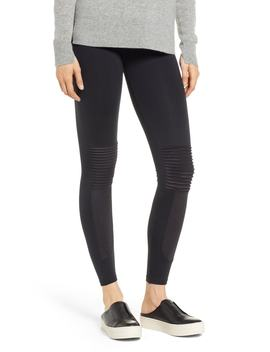 Faux Suede Moto Leggings by David Lerner