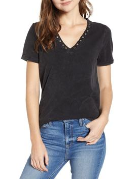 Arielle Grommet Detail Stretch Cotton Tee by Paige