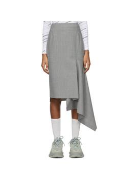 Black & White Houndstooth Side Godet Skirt by Balenciaga