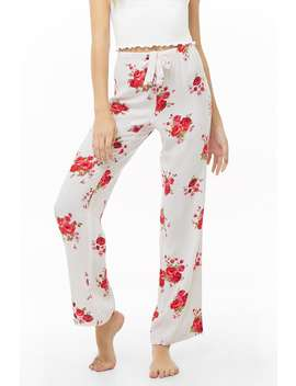 Rose Print Striped Pajama Pants by Forever 21