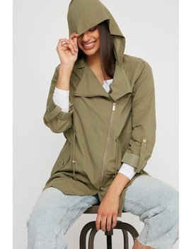 Lightweight Asymmetrical Hooded Anorak Jacket by Urban Planet