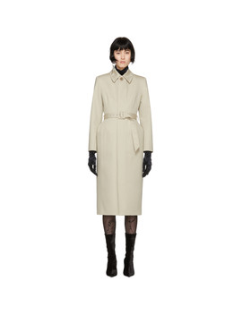 Beige Skirt Trench Coat by Balenciaga