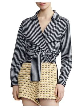 Larva Striped Wrap Top by Maje