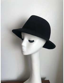 Vintage 1990s Classic Clean Black Felt Wool Fedora Trilby Panama Wide Medium Brim Round by Etsy