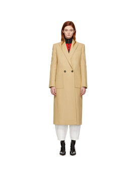 Beige Wool Masculine Long Coat by Givenchy