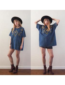 Vintage 90's Studded Denim T Shirt ~ Glam Grunge Festival by Etsy