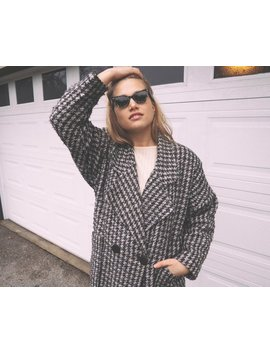 Vintage 80's Houndstooth Wool Over Sized Cocoon Coat ~ Minimalist Grunge by Etsy