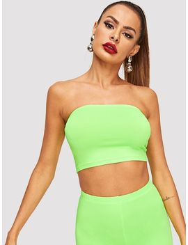 Neon Lime Solid Bandeau Top by Shein